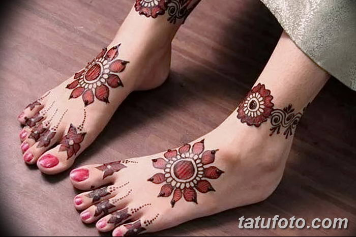 фото Мехенди на лодыжке от 13.07.2018 №207 - Mehendi on the ankle - tatufoto.com