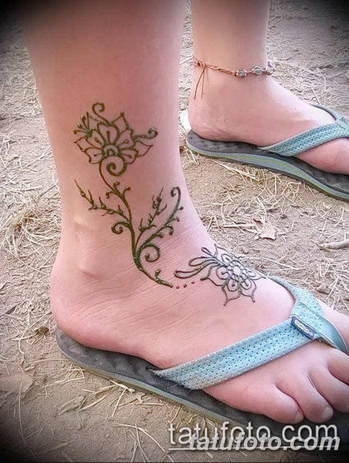 фото Мехенди на лодыжке от 13.07.2018 №214 - Mehendi on the ankle - tatufoto.com