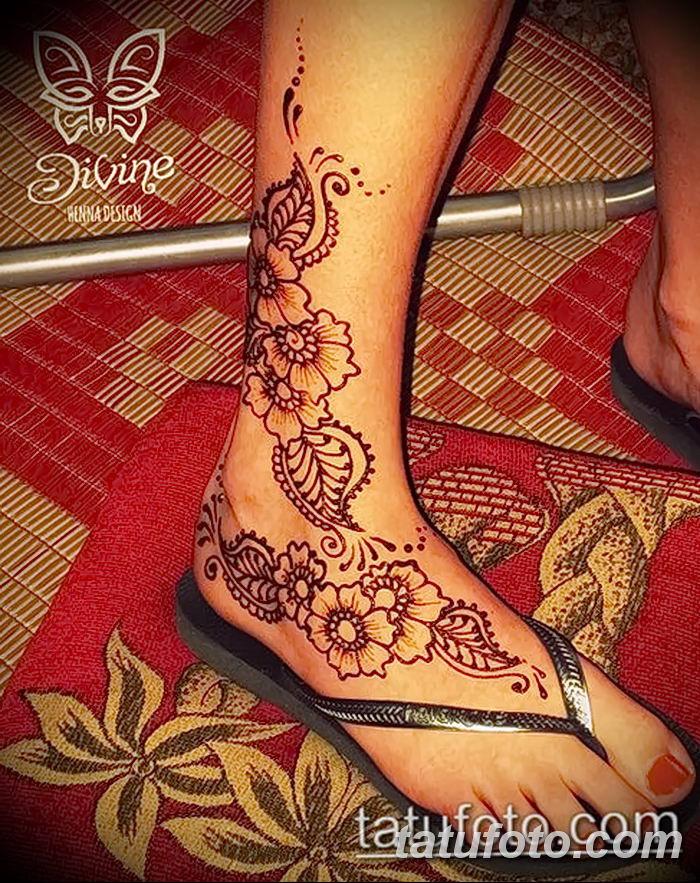 фото Мехенди на лодыжке от 13.07.2018 №216 - Mehendi on the ankle - tatufoto.com