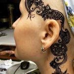 Фото Мехенди на шее от 02.08.2018 №002 - Mehendi on the neck - tatufoto.com