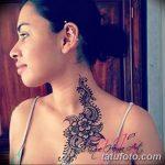 Фото Мехенди на шее от 02.08.2018 №070 - Mehendi on the neck - tatufoto.com