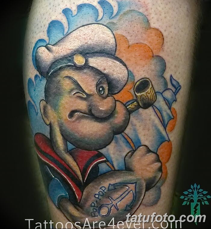Фото рисунок Тату моряк Папай от 10.08.2018 №002 - Tattoos sailor Papay - tatufoto.com