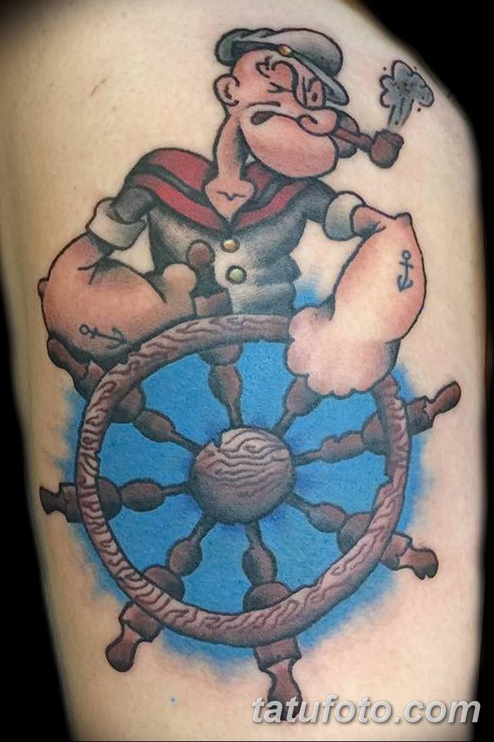 Фото рисунок Тату моряк Папай от 10.08.2018 №076 - Tattoos sailor Papay - tatufoto.com