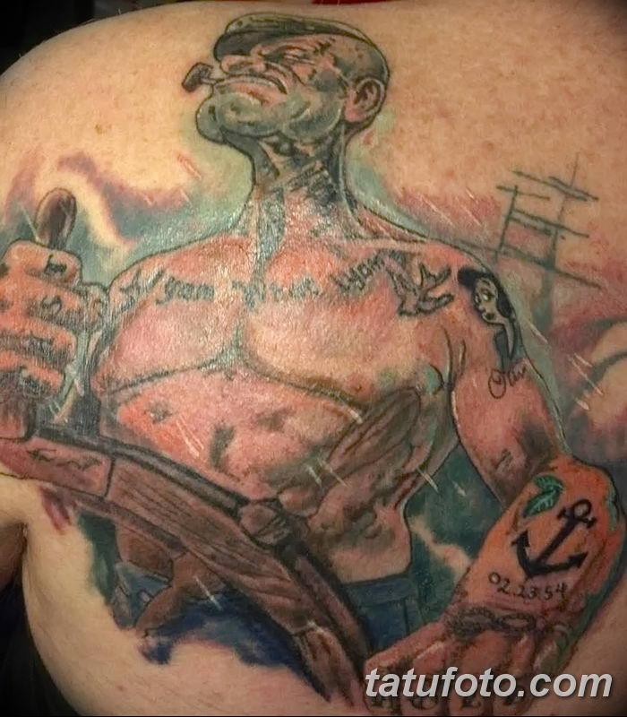 Фото рисунок Тату моряк Папай от 10.08.2018 №078 - Tattoos sailor Papay - tatufoto.com