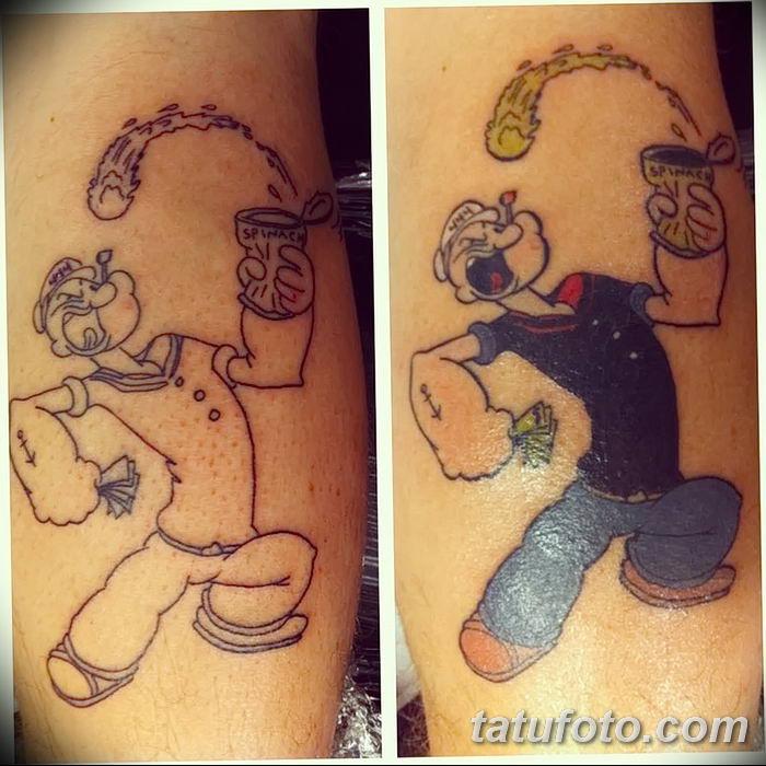 Фото рисунок Тату моряк Папай от 10.08.2018 №080 - Tattoos sailor Papay - tatufoto.com