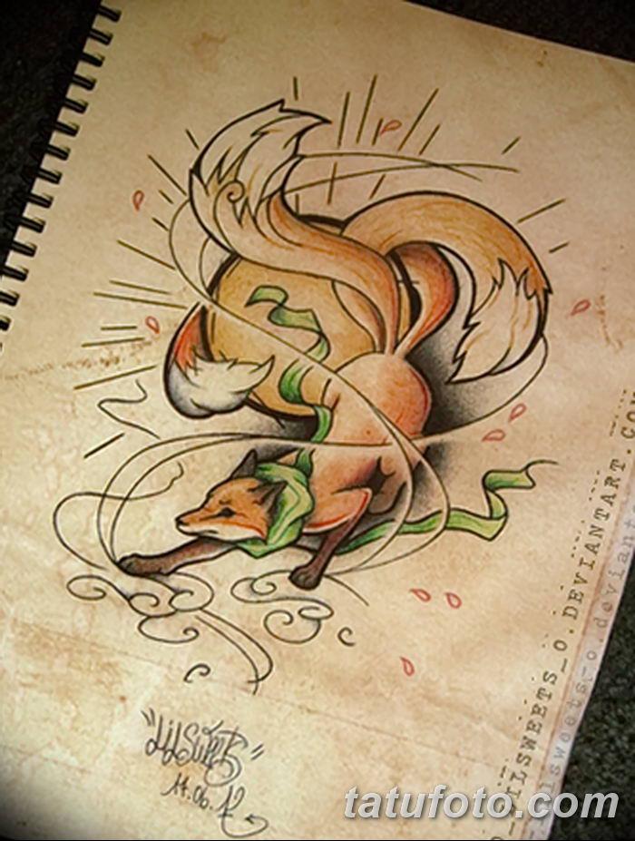 Фото рисунок тату Кицунэ от 10.08.2018 №008 - drawing of tattoo Kitsune - tatufoto.com