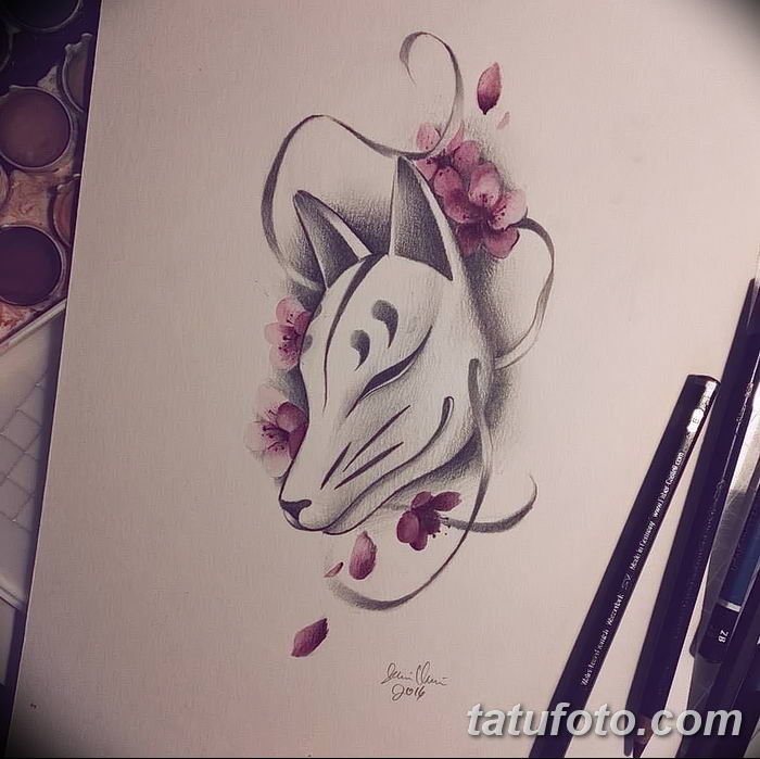 Фото рисунок тату Кицунэ от 10.08.2018 №024 - drawing of tattoo Kitsune - tatufoto.com