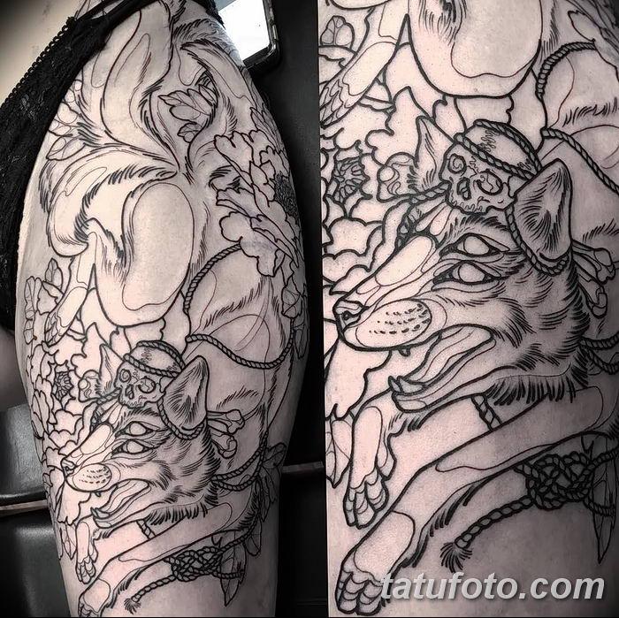 Фото рисунок тату Кицунэ от 10.08.2018 №048 - drawing of tattoo Kitsune - tatufoto.com