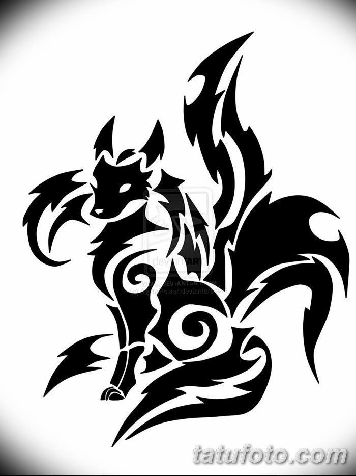 Фото рисунок тату Кицунэ от 10.08.2018 №063 - drawing of tattoo Kitsune - tatufoto.com