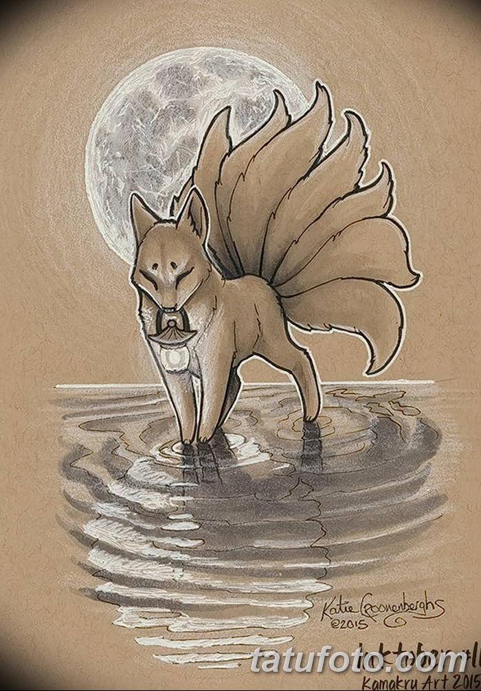 Фото рисунок тату Кицунэ от 10.08.2018 №069 - drawing of tattoo Kitsune - tatufoto.com