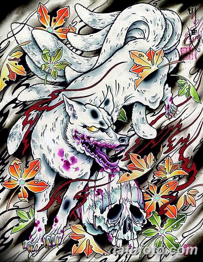 Фото рисунок тату Кицунэ от 10.08.2018 №079 - drawing of tattoo Kitsune - tatufoto.com