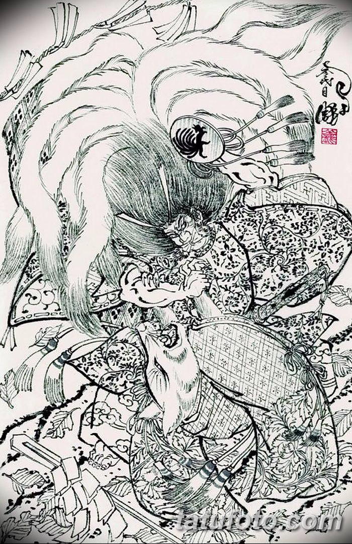 Фото рисунок тату Кицунэ от 10.08.2018 №112 - drawing of tattoo Kitsune - tatufoto.com