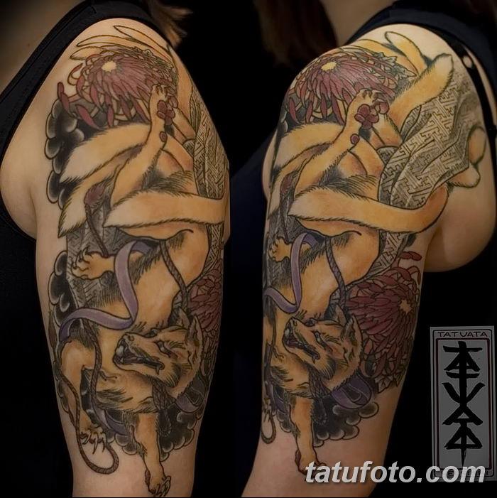 Фото рисунок тату Кицунэ от 10.08.2018 №173 - drawing of tattoo Kitsune - tatufoto.com