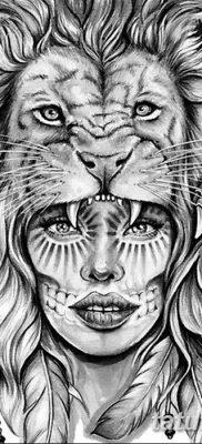 Фото тату голова льва от 08.08.2018 №001 – tattoo head of a lion – tatufoto.com