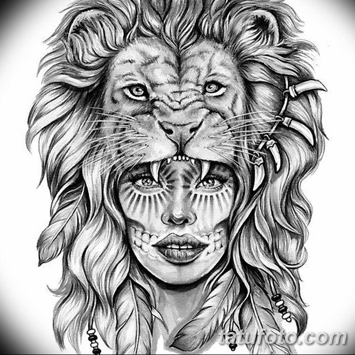 Фото тату голова льва от 08.08.2018 №001 - tattoo head of a lion - tatufoto.com
