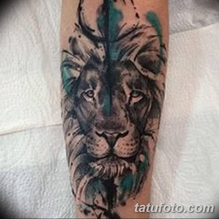 Фото тату голова льва от 08.08.2018 №003 - tattoo head of a lion - tatufoto.com