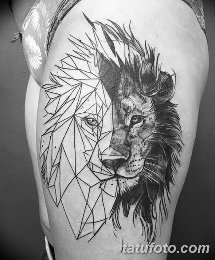 Фото тату голова льва от 08.08.2018 №005 - tattoo head of a lion - tatufoto.com