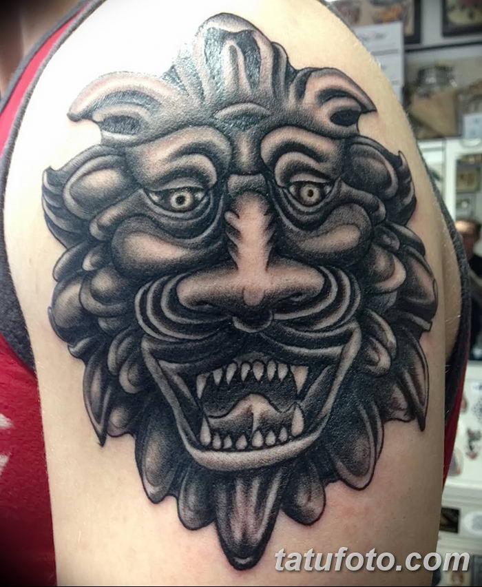 Фото тату голова льва от 08.08.2018 №007 - tattoo head of a lion - tatufoto.com