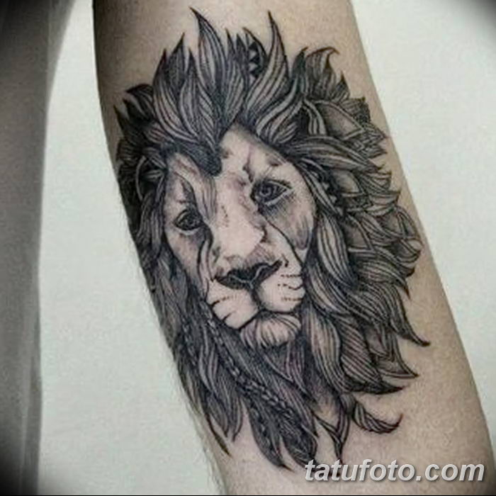 Фото тату голова льва от 08.08.2018 №020 - tattoo head of a lion - tatufoto.com