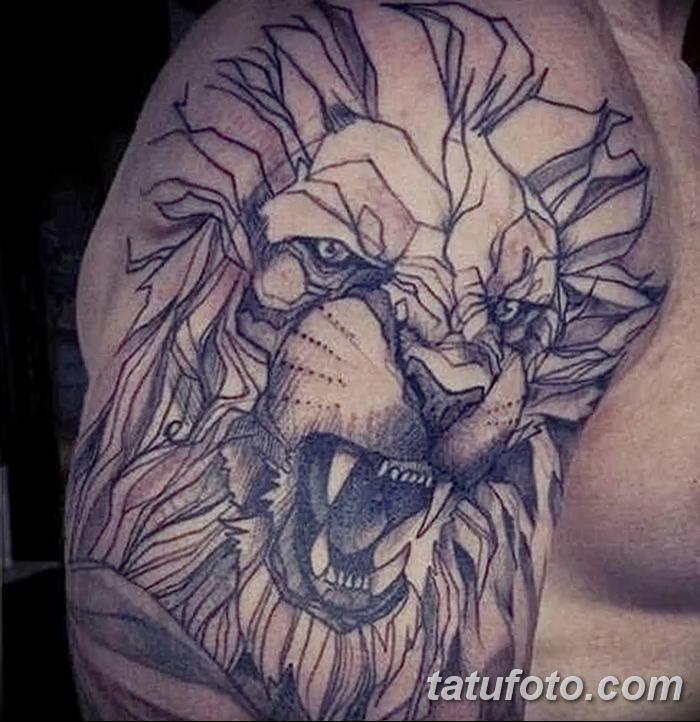 Фото тату голова льва от 08.08.2018 №135 - tattoo head of a lion - tatufoto.com