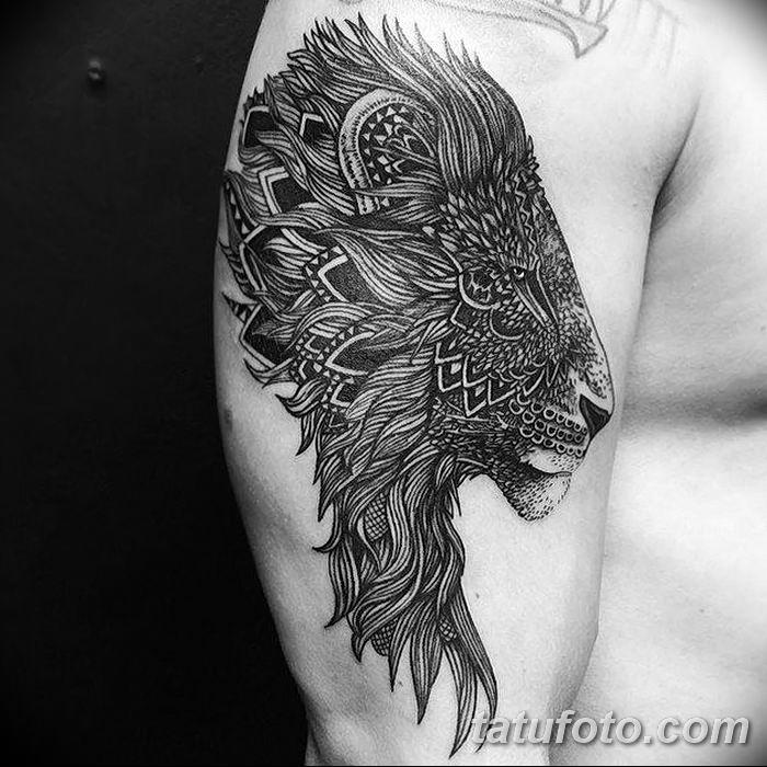 Фото тату голова льва от 08.08.2018 №137 - tattoo head of a lion - tatufoto.com