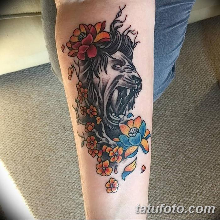 Фото тату голова льва от 08.08.2018 №138 - tattoo head of a lion - tatufoto.com
