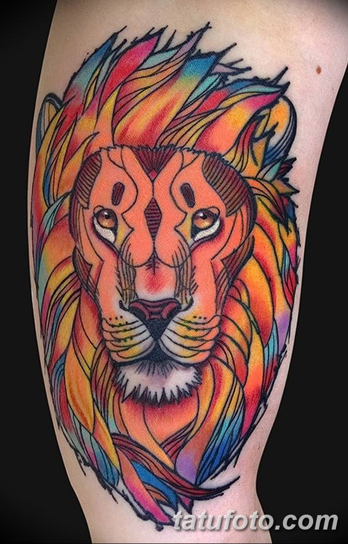 Фото тату голова льва от 08.08.2018 №142 - tattoo head of a lion - tatufoto.com