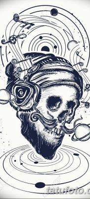 Human skull and universe tattoo and t-shirt design. Skull of the bearded hipster in earphone listens to music. Skull with beard, mustache, hipster hat and headphones tattoo