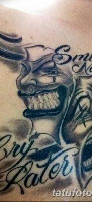 Фото тату смейся сейчас плач потом 17.08.2018 №050 – Smile now cry later – tatufoto.com