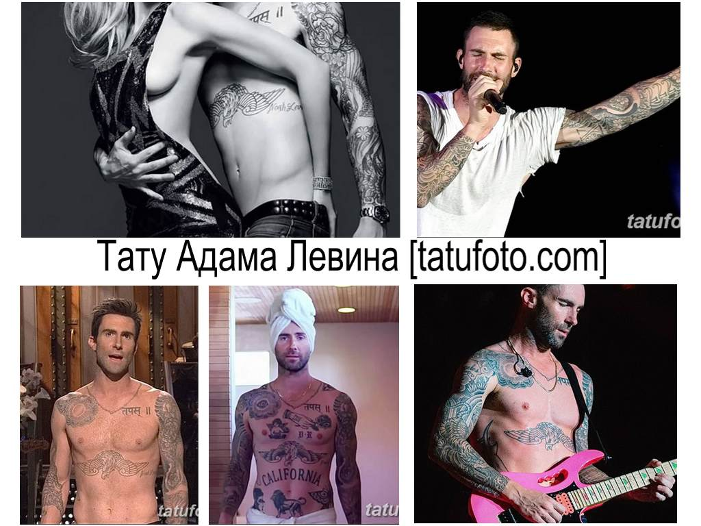 Тату Адама Левина - фото коллекция рисунков татуировки на теле значенитости