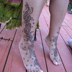 Фото Мехенди на голени от 17.09.2018 №022 - Mehendi on the lower leg - tatufoto.com