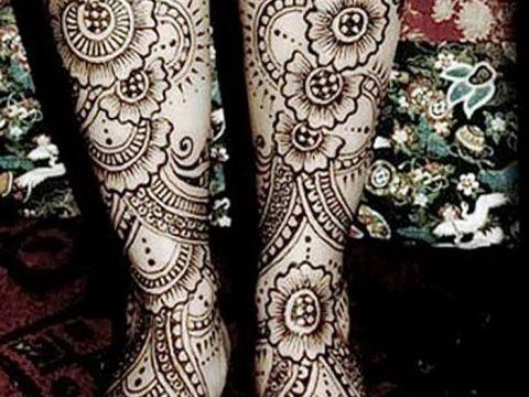 Фото Мехенди на голени от 17.09.2018 №052 - Mehendi on the lower leg - tatufoto.com
