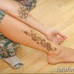 Фото Мехенди на голени от 17.09.2018 №097 - Mehendi on the lower leg - tatufoto.com