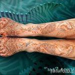Фото Мехенди на голени от 17.09.2018 №129 - Mehendi on the lower leg - tatufoto.com
