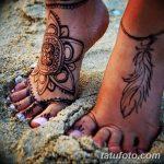 Фото Мехенди на ступне (рисунки хной) от 08.09.2018 №088 - Mehendi foot - tatufoto.com