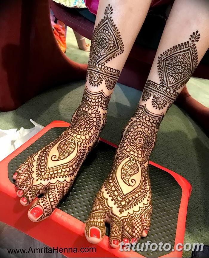Фото Мехенди на ступне (рисунки хной) от 08.09.2018 №325 - Mehendi foot - tatufoto.com