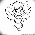 Cupid Drawing Cartoon Illustration Of Outlined Baby Cupid Huggin