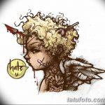 Фото Эскиз тату купидон от 11.09.2018 №097 - Sketch of tattoo cupid - tatufoto.com