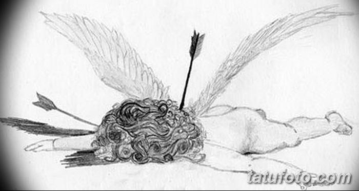 Фото Эскиз тату купидон от 11.09.2018 №115 - Sketch of tattoo cupid - tatufoto.com
