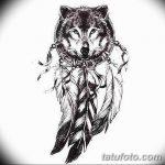 Фото тату волк и перо от 21.09.2018 №001 - tattoo wolf and feather - tatufoto.com