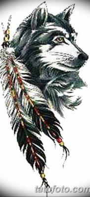 Фото тату волк и перо от 21.09.2018 №014 – tattoo wolf and feather – tatufoto.com