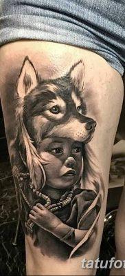 Фото тату волк и перо от 21.09.2018 №017 – tattoo wolf and feather – tatufoto.com