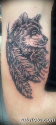 Фото тату волк и перо от 21.09.2018 №019 – tattoo wolf and feather – tatufoto.com