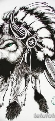 Фото тату волк и перо от 21.09.2018 №022 – tattoo wolf and feather – tatufoto.com