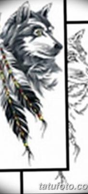 Фото тату волк и перо от 21.09.2018 №026 – tattoo wolf and feather – tatufoto.com