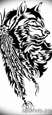 Фото тату волк и перо от 21.09.2018 №027 – tattoo wolf and feather – tatufoto.com