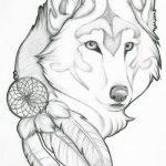 Фото тату волк и перо от 21.09.2018 №030 - tattoo wolf and feather - tatufoto.com