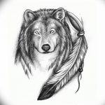 Фото тату волк и перо от 21.09.2018 №044 - tattoo wolf and feather - tatufoto.com
