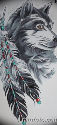Фото тату волк и перо от 21.09.2018 №045 – tattoo wolf and feather – tatufoto.com