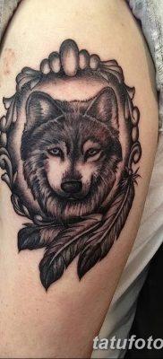 Фото тату волк и перо от 21.09.2018 №046 – tattoo wolf and feather – tatufoto.com